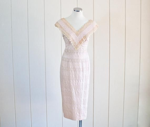 Vintage Wedding Dresses Miami: 1950s Vintage Pale Pink Lace Wiggle Pencil Dress By Alix