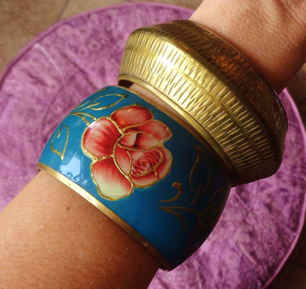 Vintage 2 Bracelet Lot Wide Brass Enamel Roses &  Bubble Bangles