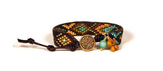 Bead Loom Bracelet Leather Wrap Bracelet Brown Turquoise Gold