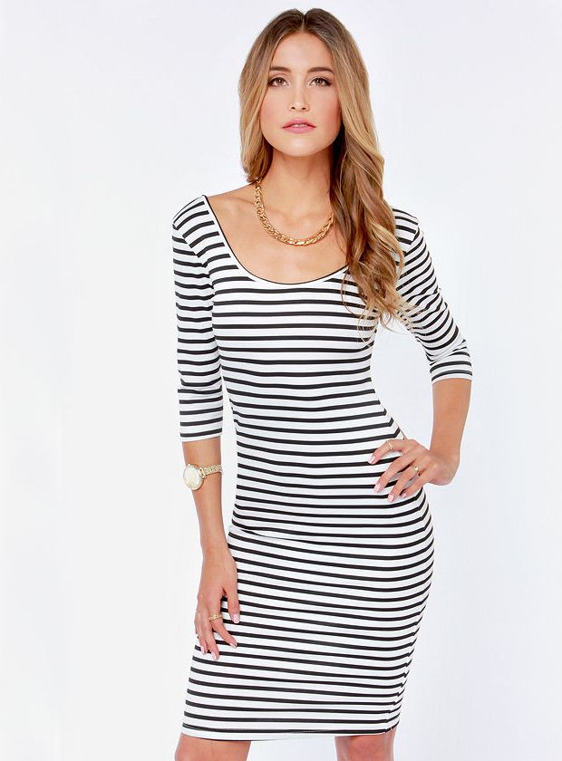 White Black Striped Backless Dress Outfits I Will Buy Pinterest
