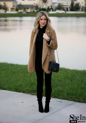 Khaki Lapel Long Sleeve Loose Sweater Coat