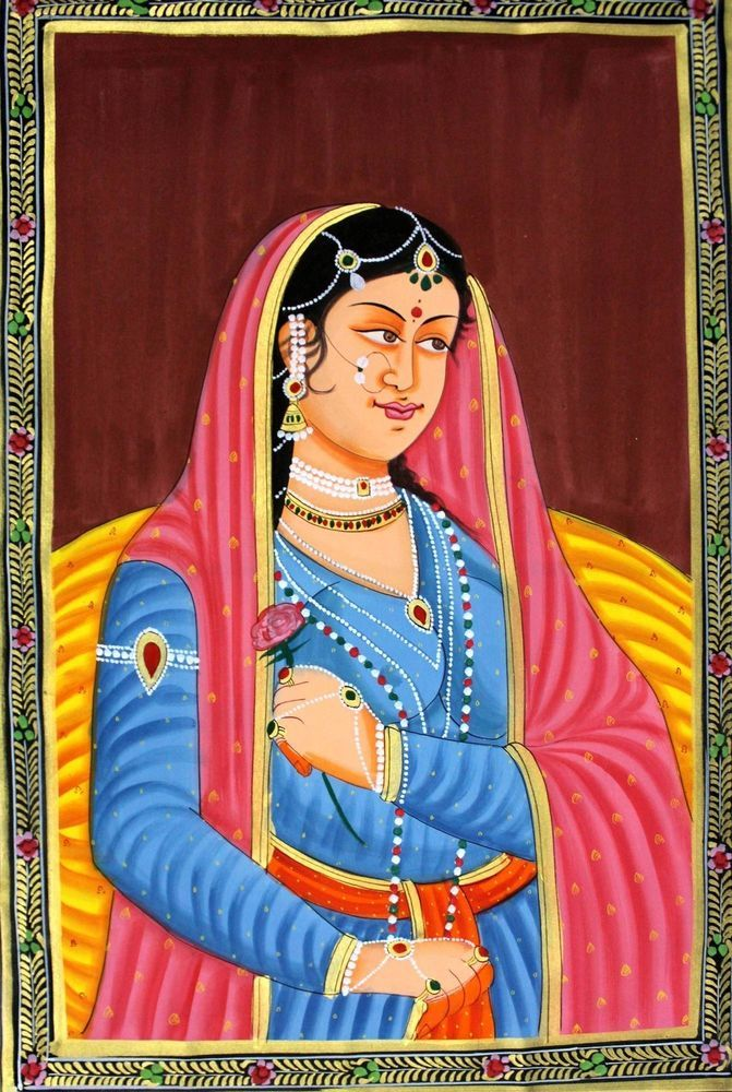 Vintage India Rajasthani Painting Mughal Queen In Royal Dress On Fabric G906