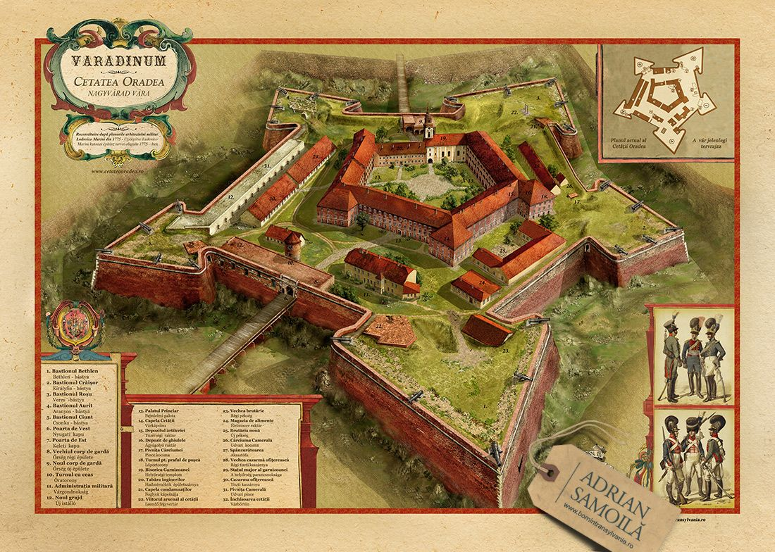 Artwork from guide map of Oradea\'s fortress.   Maps in 2019 ...