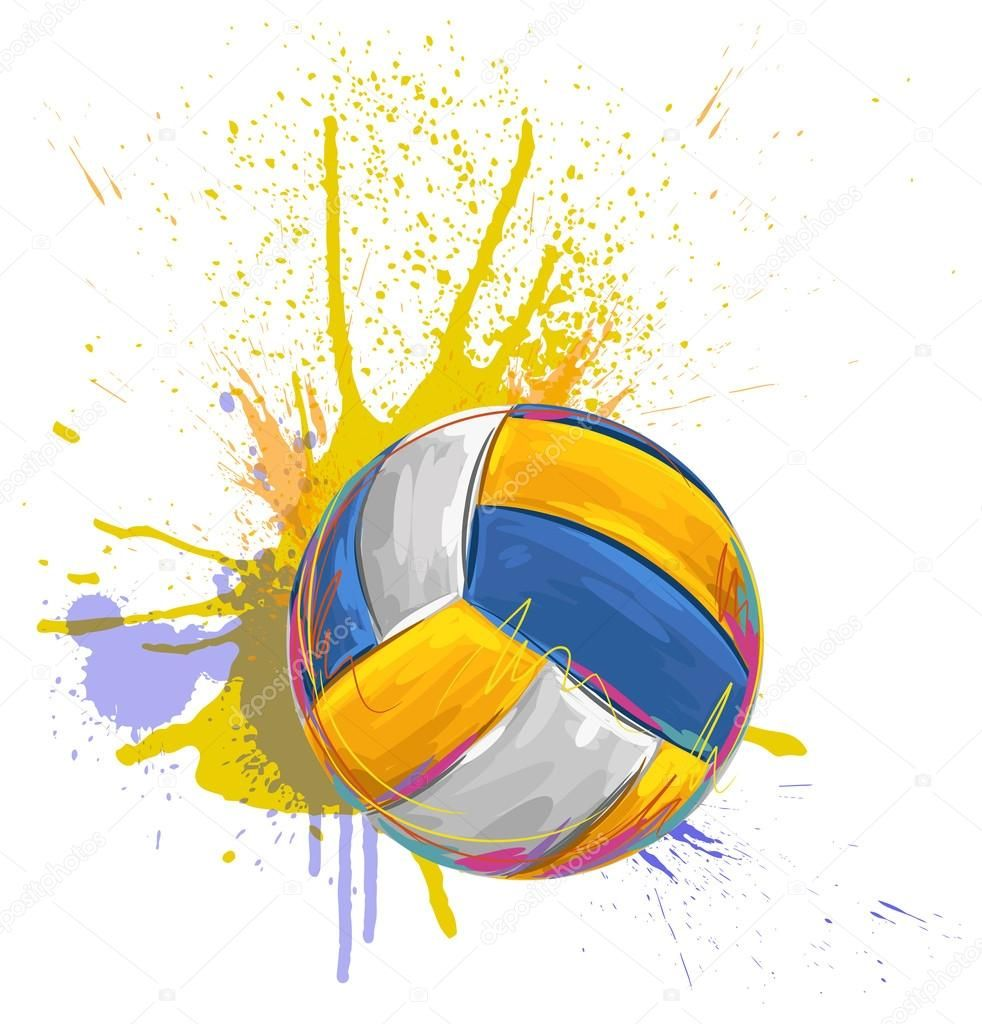 Volleyball Ball On Background Of Grunge Colorful Spots Of Paint Pallavolo Pallanuoto Sfondi