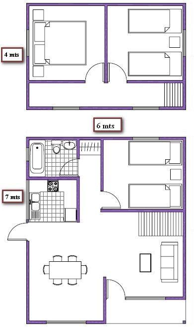 Plano de casa de 66m2 dos pisos planos casas peque as for Diseno de apartamento de 4x8 mts