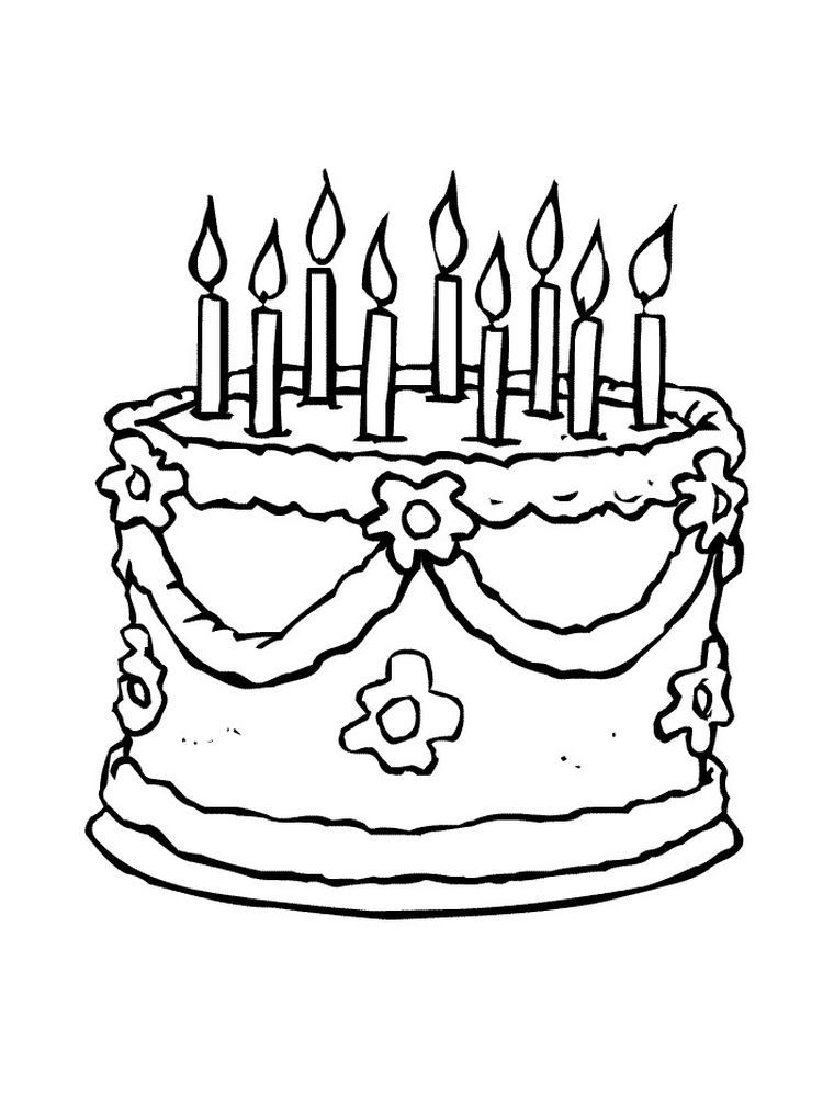 Birthday Cake Coloring Page Free Printable Birthday Coloring