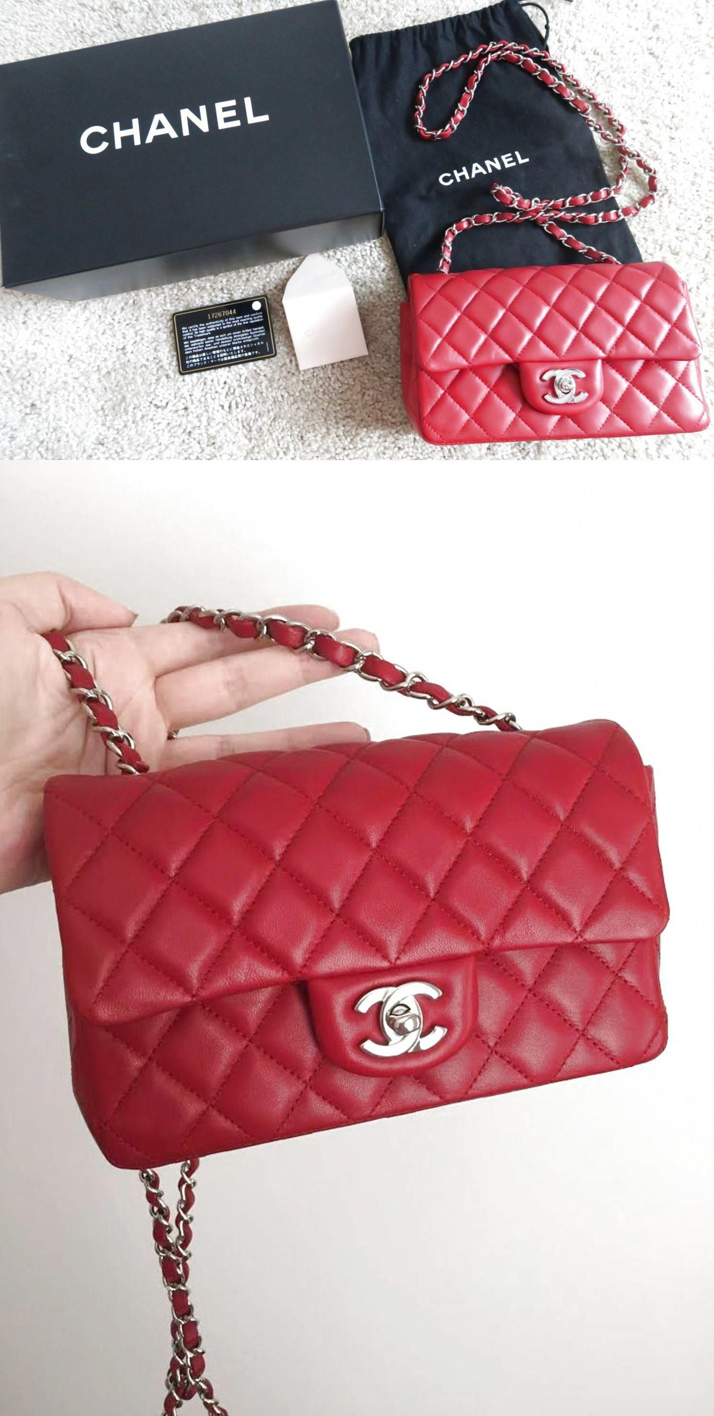 d061fa4d967d CHANEL Red Lambskin Classic Mini Flap Bag! Rectangle Silver Chain! SOLD OUT  Auth $3000.0 #Chanelhandbags