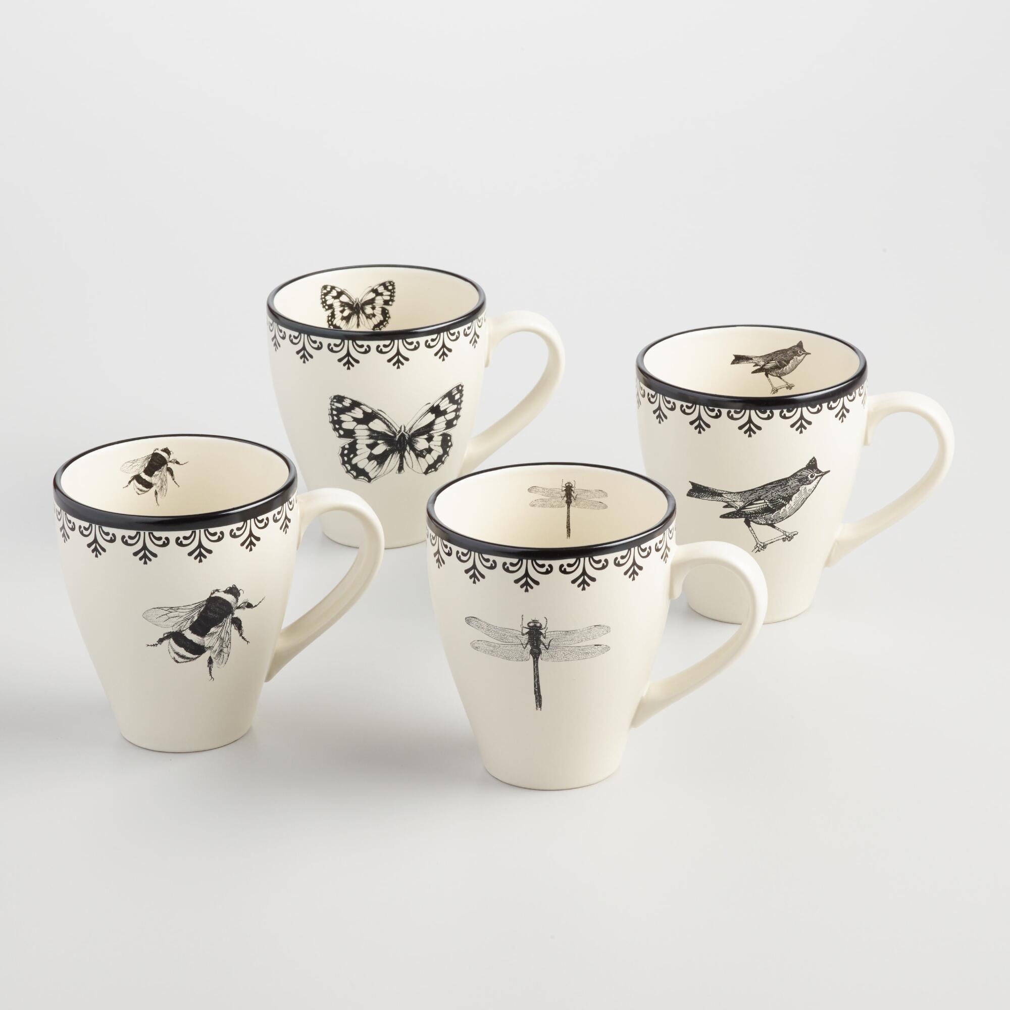 Letterpress Mugs, Set of 4 Black/White Stoneware by