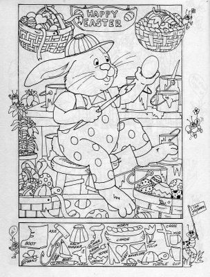 easter hidden picture puzzle and coloring page in topsy turvy land easter puzzle