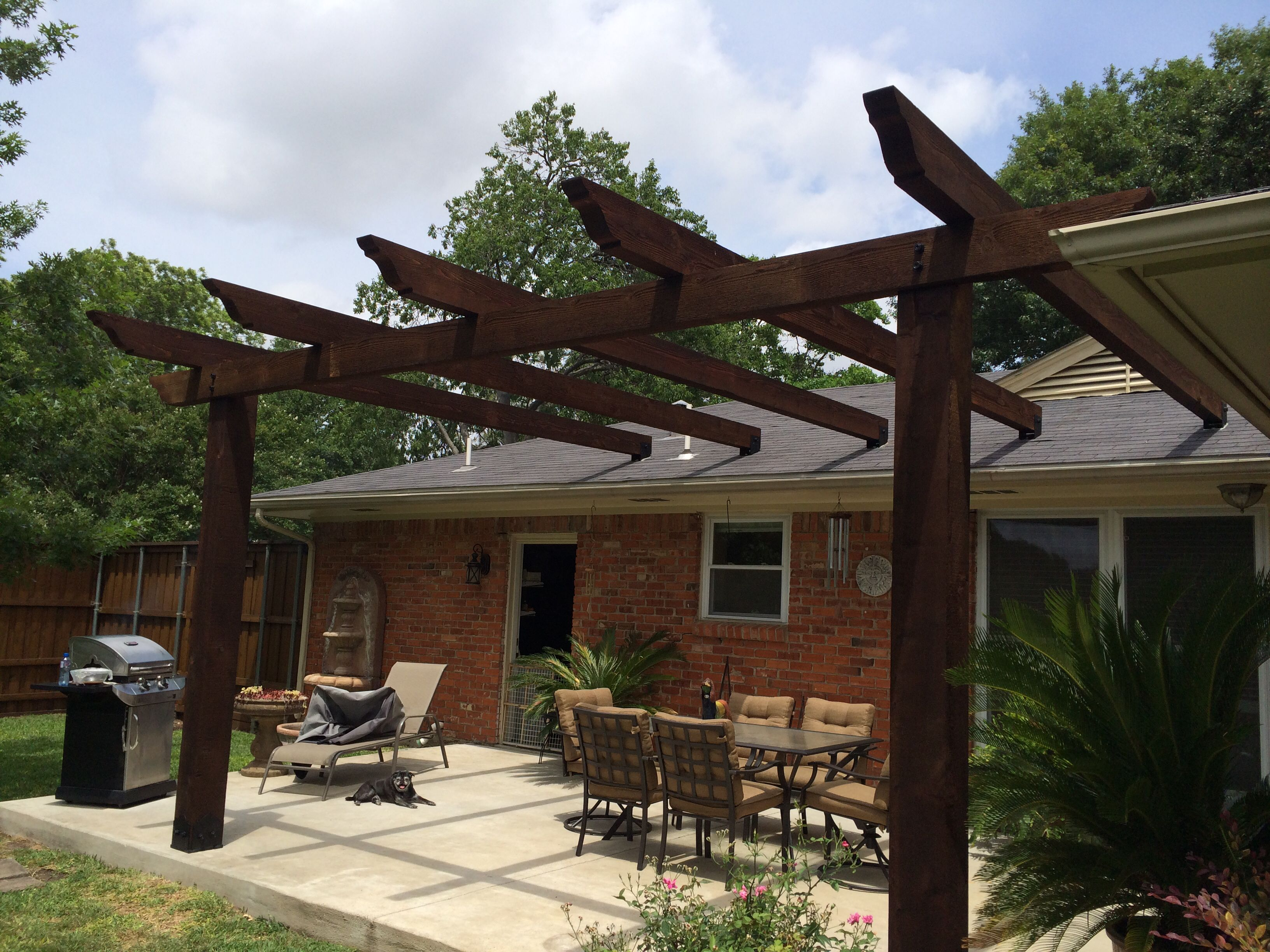 Pergola attached to roof Would prefer beams to be angled ing