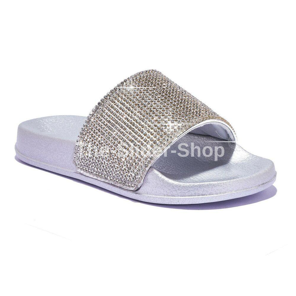 Ladies Womans Diamante Slip On Sliders Mule Summer Flowers Sandals Shoes Sizes