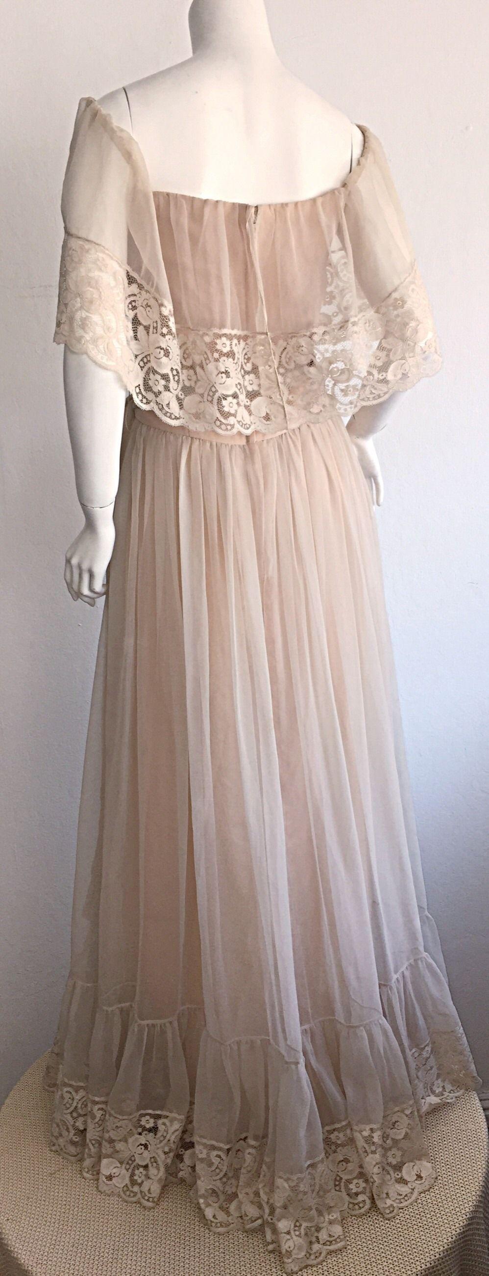 Beautiful ethereal vintage victor costa cream lace bohemian wedding