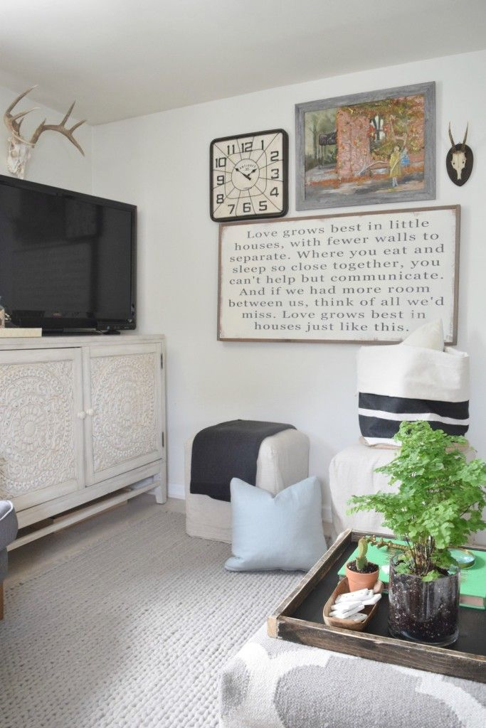 Family Room with Wallpaper and Chalkboard Wall - Nesting With Grace