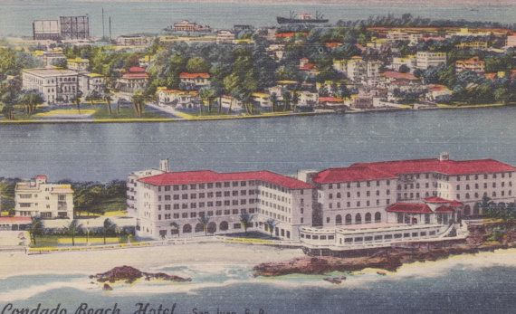 Puerto Rico San Juan Condado Beach Hotel Vintage Linen Postcard Unused 1940s Matias Photo By Agnesofbohemia 1 99