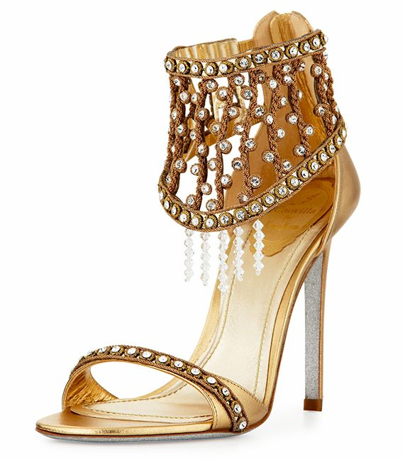 Gorgeous!! René Caovilla Metallic Crystal Cage Sandal in gold.