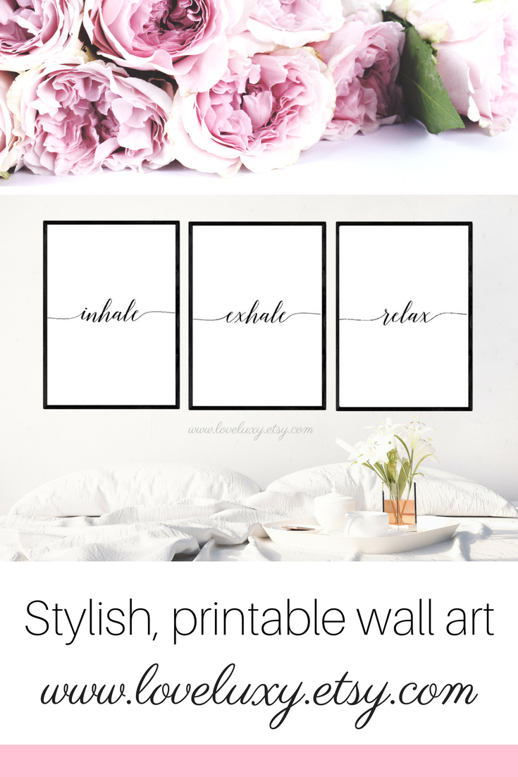 Check out stylish printable wall art at LoveLuxy, Etsy. The perfect decor for your bedroom, kitchen, living room, office, etc. Interior design | Bedroom Decor | Office Decor | Office Goals | Printable wall art | Wall Art | Bedroom Design Ideas | Decor inspiration | Bedroom Design Inspiration | Inhale Exhale | Stylish Bedroom | Stylish bedroom Decor | home decor #bedroomideas #decorideas #bedroom