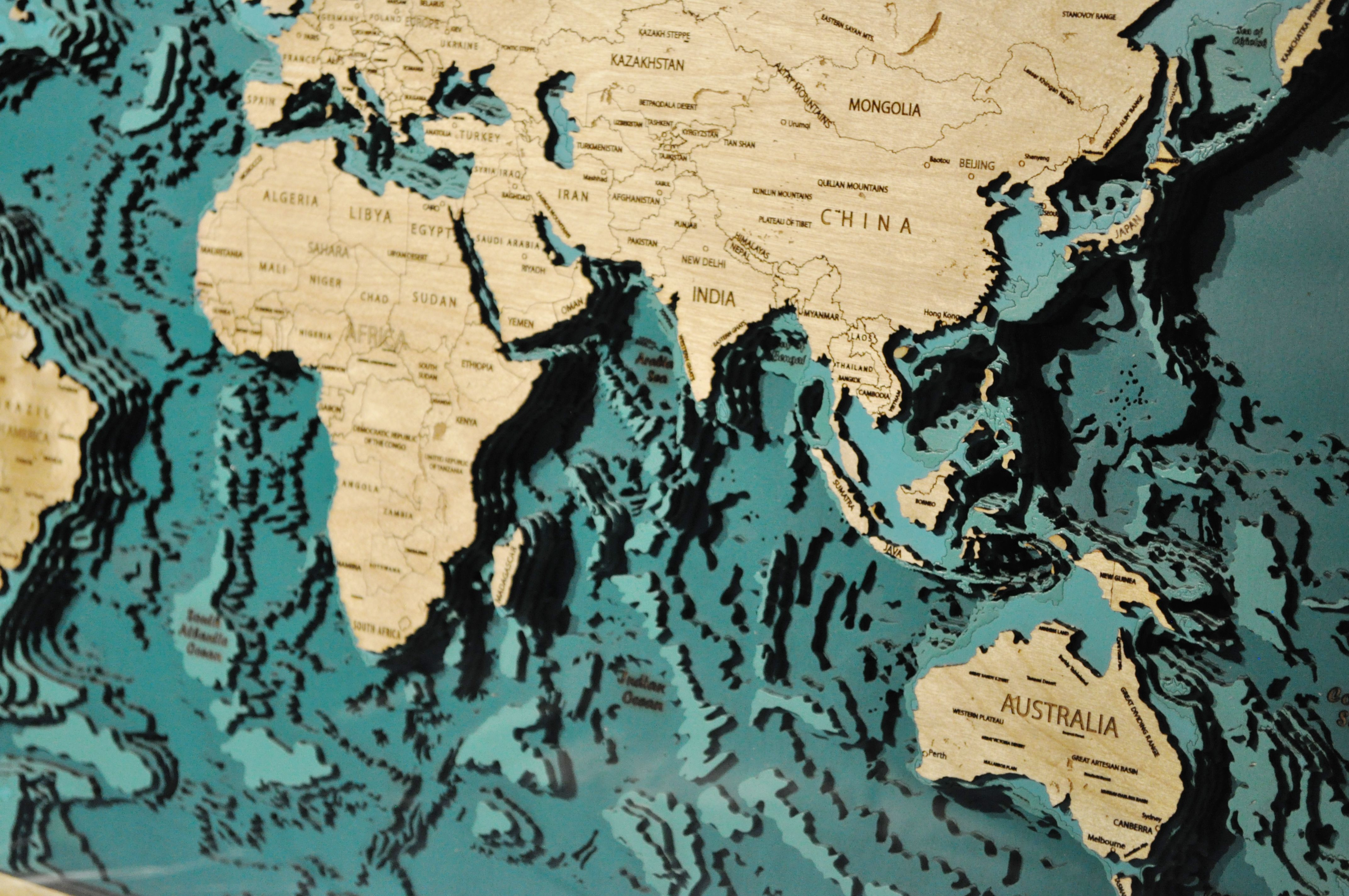 World map wooden world map plywood map