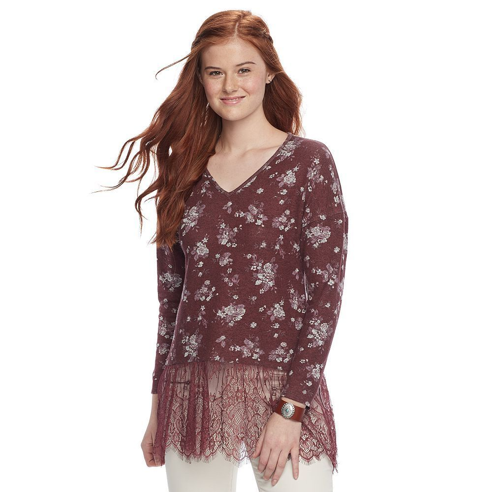 Juniorsu trixxi lace hem tunic purple products