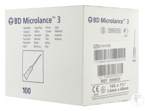 Bd 300637 Microlance Hypodermic Needle 16g X 1 5 White Pack Of
