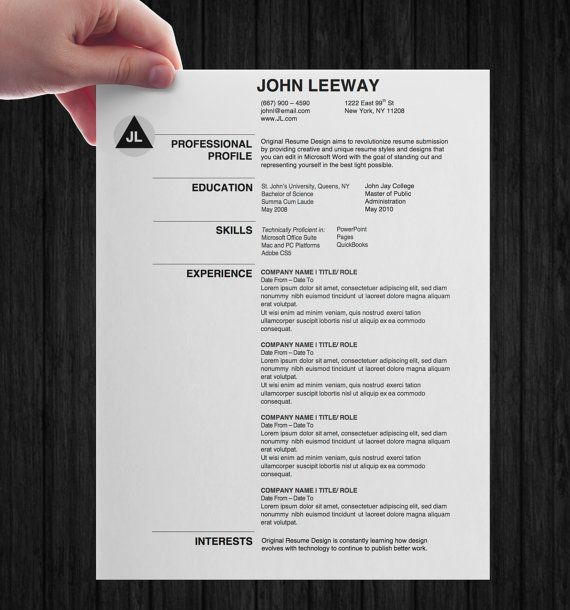Instant Download  Microsoft Word Resume Template  Modern Design