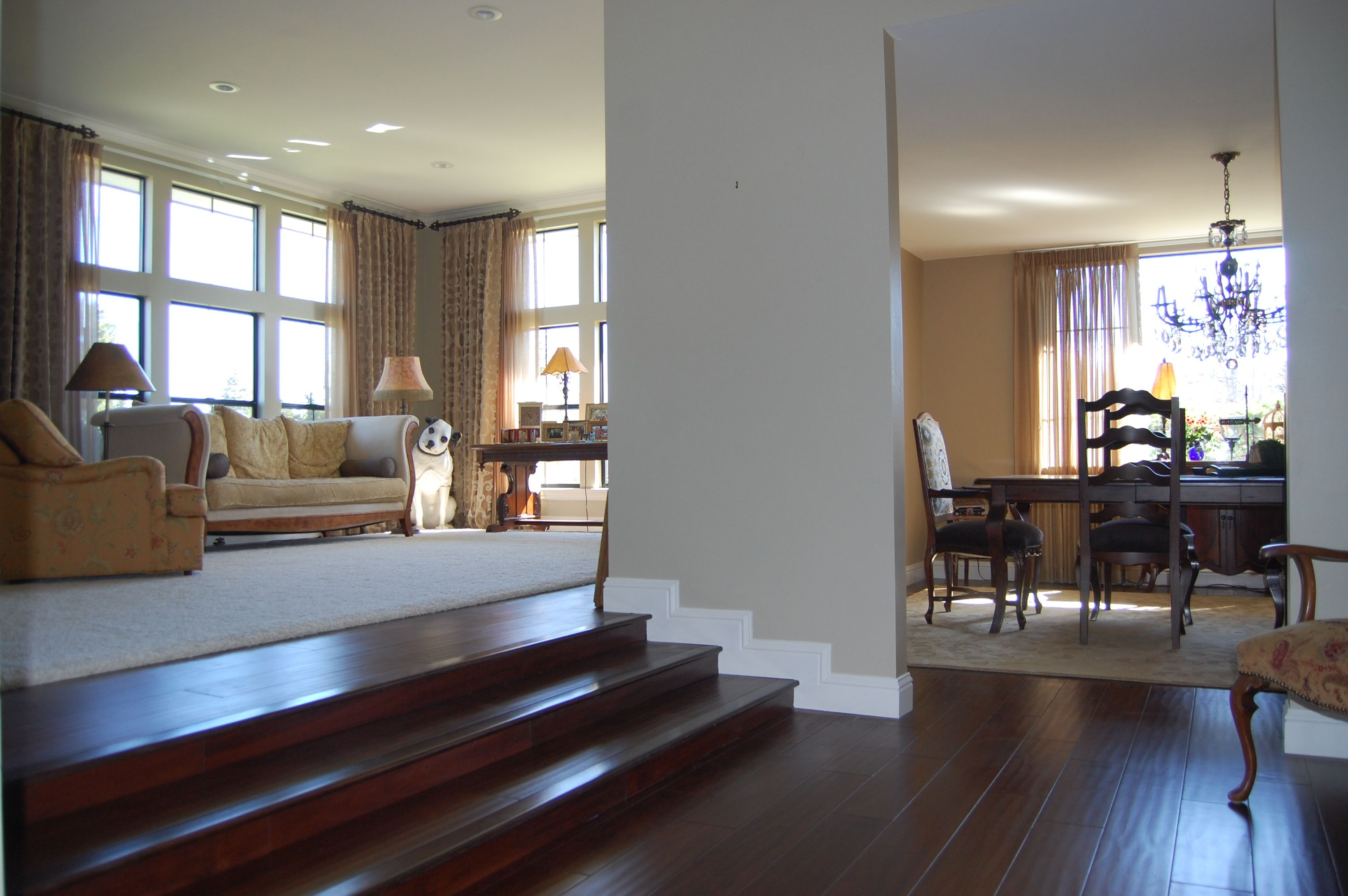 Large Remodeled Living Room With Carpet And Wood Steps Flooring Dining