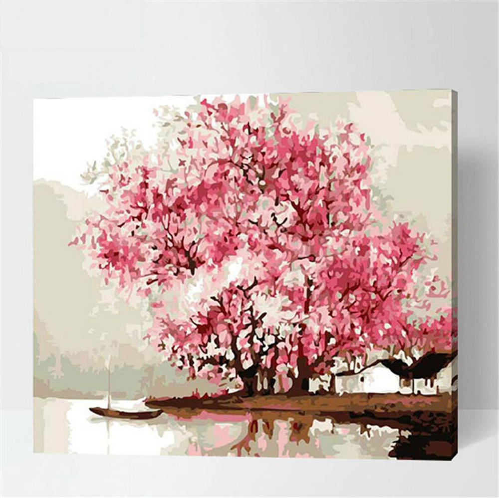 Cherry Blossom Tree Diy Paint By Number Kit Framed Unframed Etsy Tree Art Diy Tree Painting Tree Art