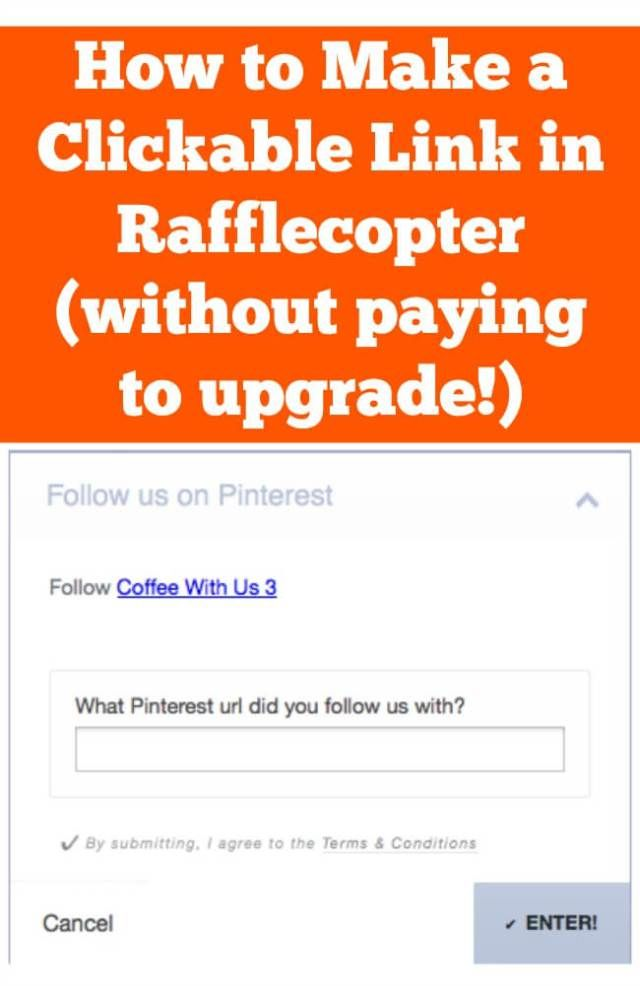 How To Create A Clickable Link On Rafflecopter Coffee With Us 3 Rafflecopter Free Blog Planner About Me Blog
