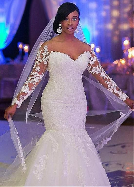 253 20 Stunning Tulle Off The Shoulder Neckline Mermaid Wedding