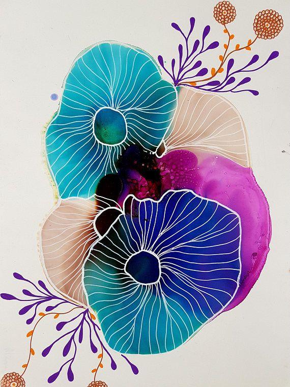 Korallenriff 5, Korallenmalerei, Korallenriff Malerei, abstrakte Kunst, Original-Kunst, Tinte Malerei, Alkohol Tinte Kunst, Geschenke für Sie