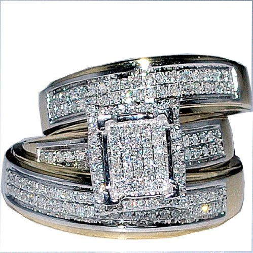 His Her Wedding Rings Set Trio Men Women 10k Yellow Gold Rings
