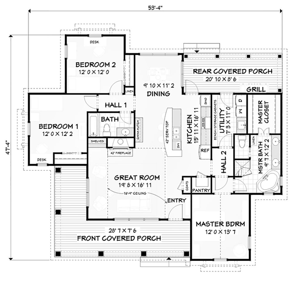 House Plan 3125 00020 Farmhouse Plan 1 619 Square Feet 3 Bedrooms 2 Bathrooms Farmhouse Plans Square House Plans Farmhouse Style House Plans