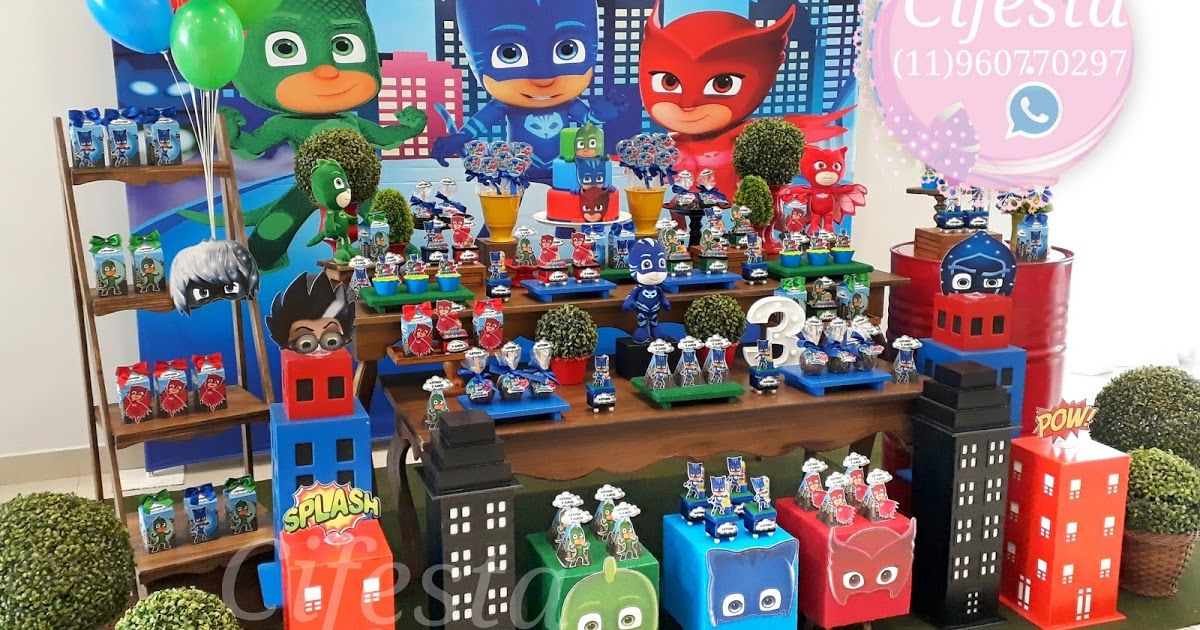 Pj Masks Decoracao De Aniversario Infantil Decoracao Pj Masks