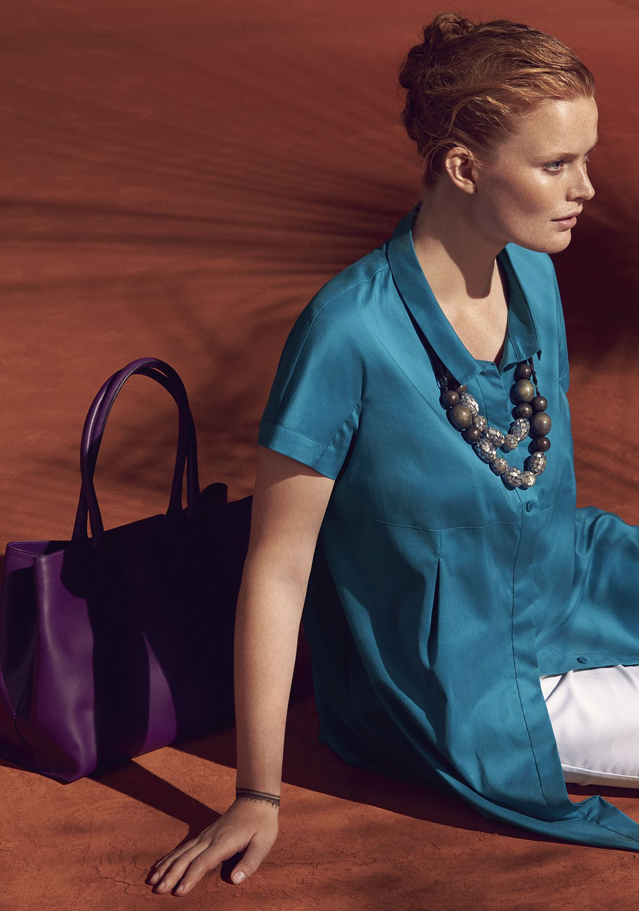 Marina Rinaldi Plus short-sleeved silk tunic in teal from the Town  Collection 2015 53781effd38