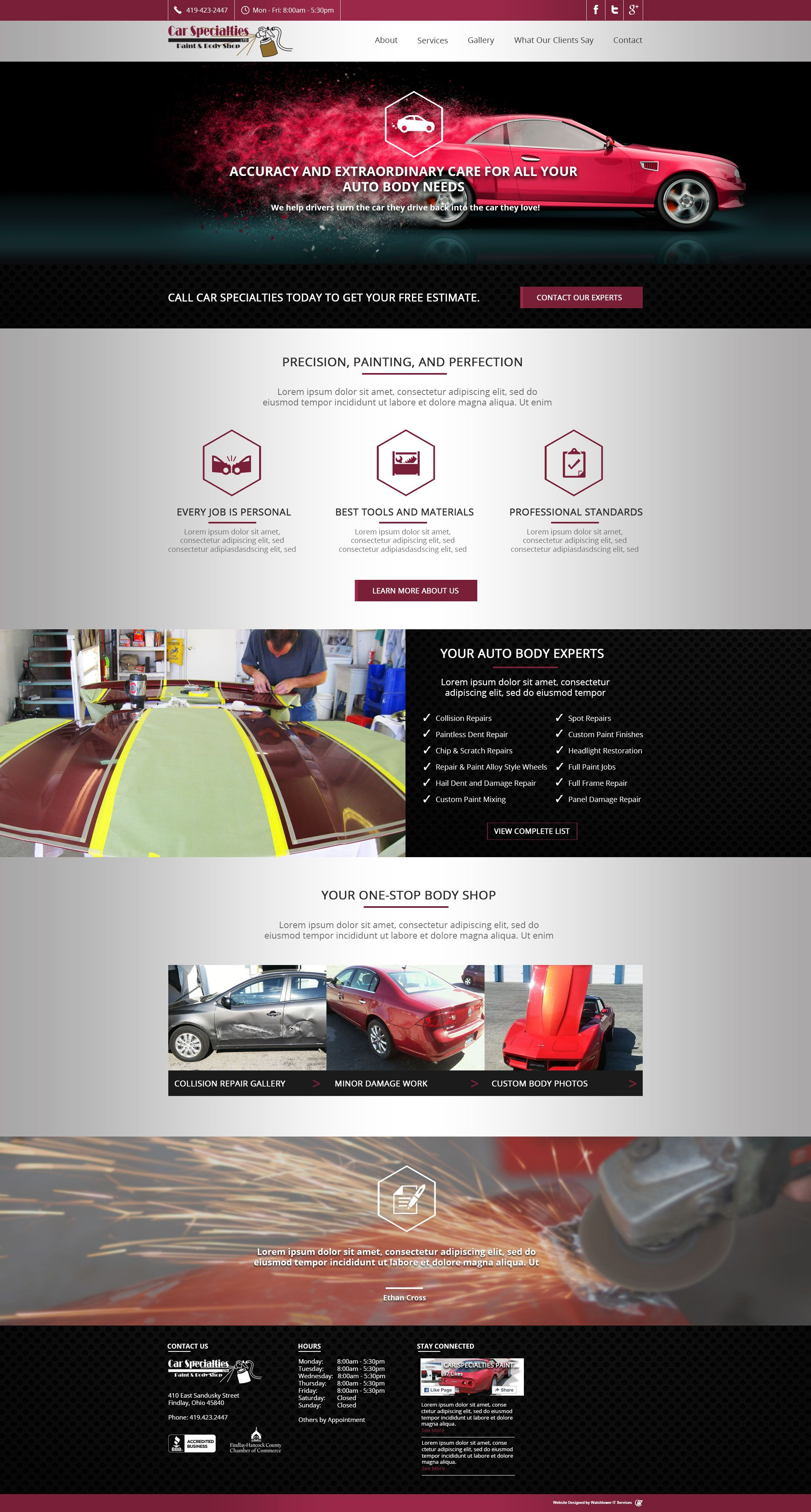 Homepage Design For Auto Body Shop. CMS Wordpress.