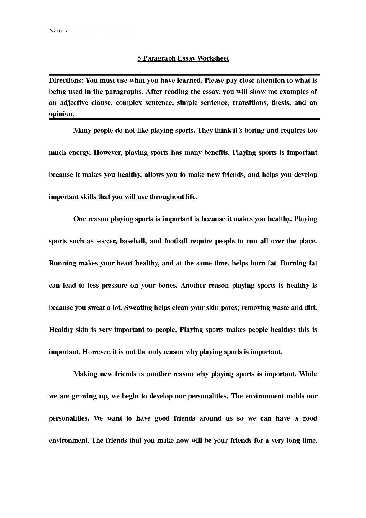 Post Introduction Paragraph Worksheet Innovativ 5