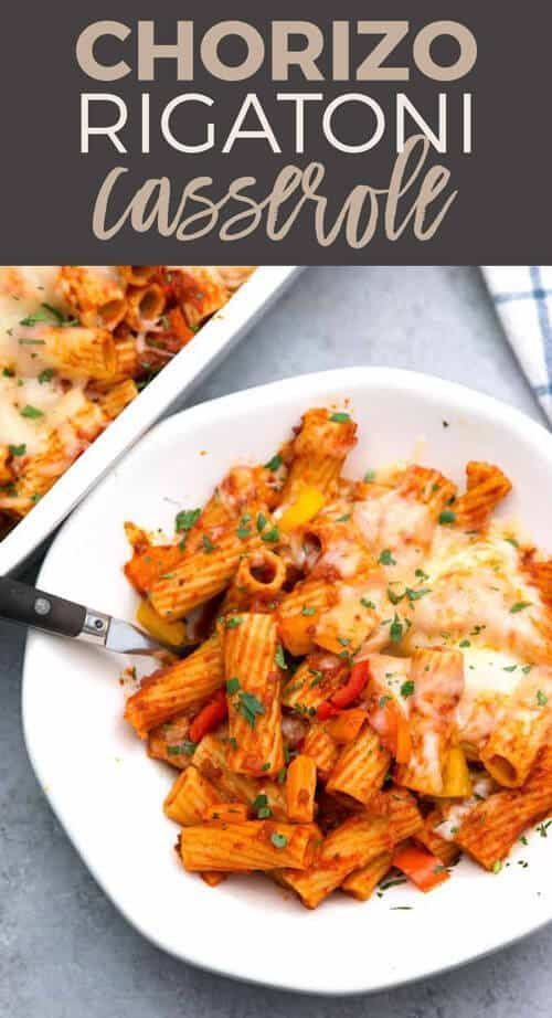 Looking for an easy-to-make and filling dinner? Try this chorizo rigatoni casserole! Blend of sweet bell peppers, chorizo and cheese.