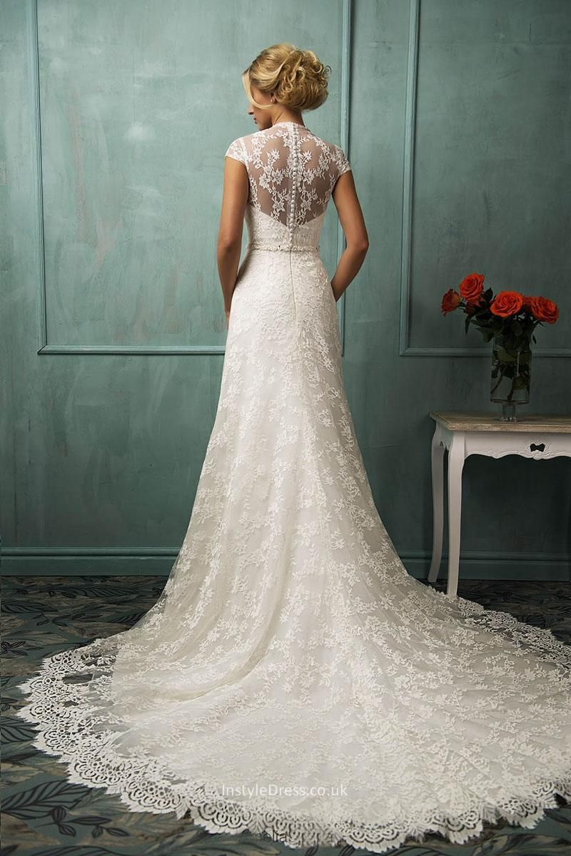 Long Tail Lace Wedding Dress Vintage A Line Cap Sleeves Floor Length