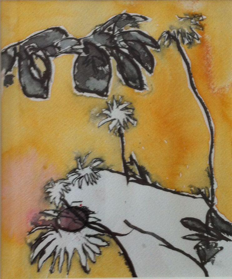 Tusch og akvarel på papir 18x21,5 cm.
