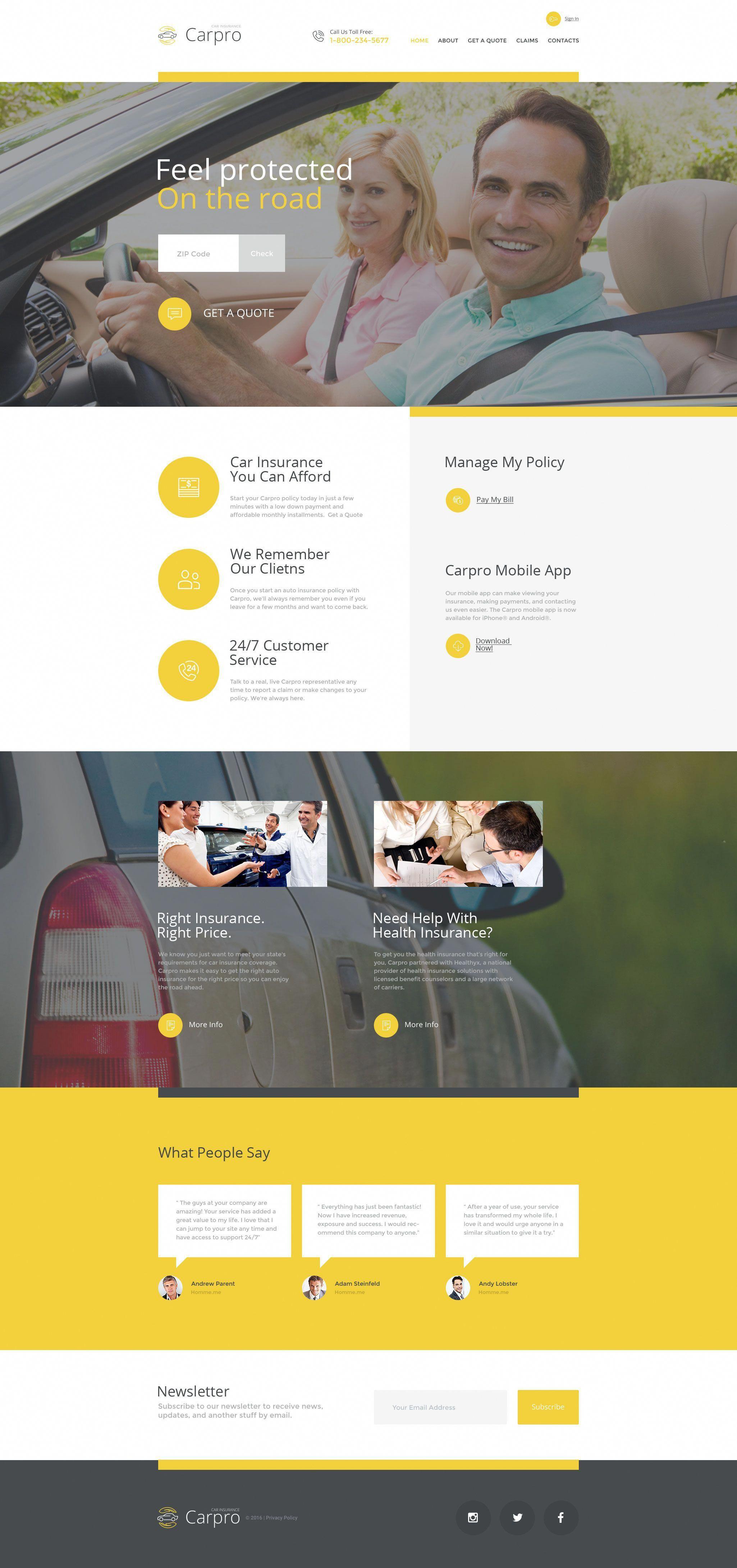 Carpro Website Template Insurance Website Car Insurance Web
