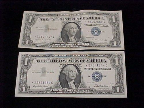 2 1957 $1 Silver Certificate Star Notes 1957 G454 257 1957A F712 399 ...
