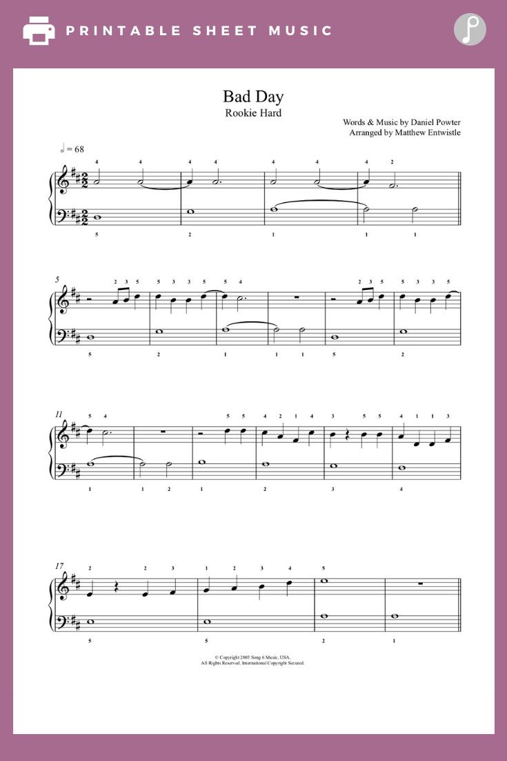 Bad Day By Daniel Powter Piano Sheet Music Rookie Level Sheet Music Piano Sheet Music Piano Sheet