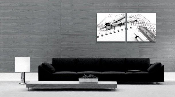 High Quality Grey Living Room With Black White Abstract Painting Decor