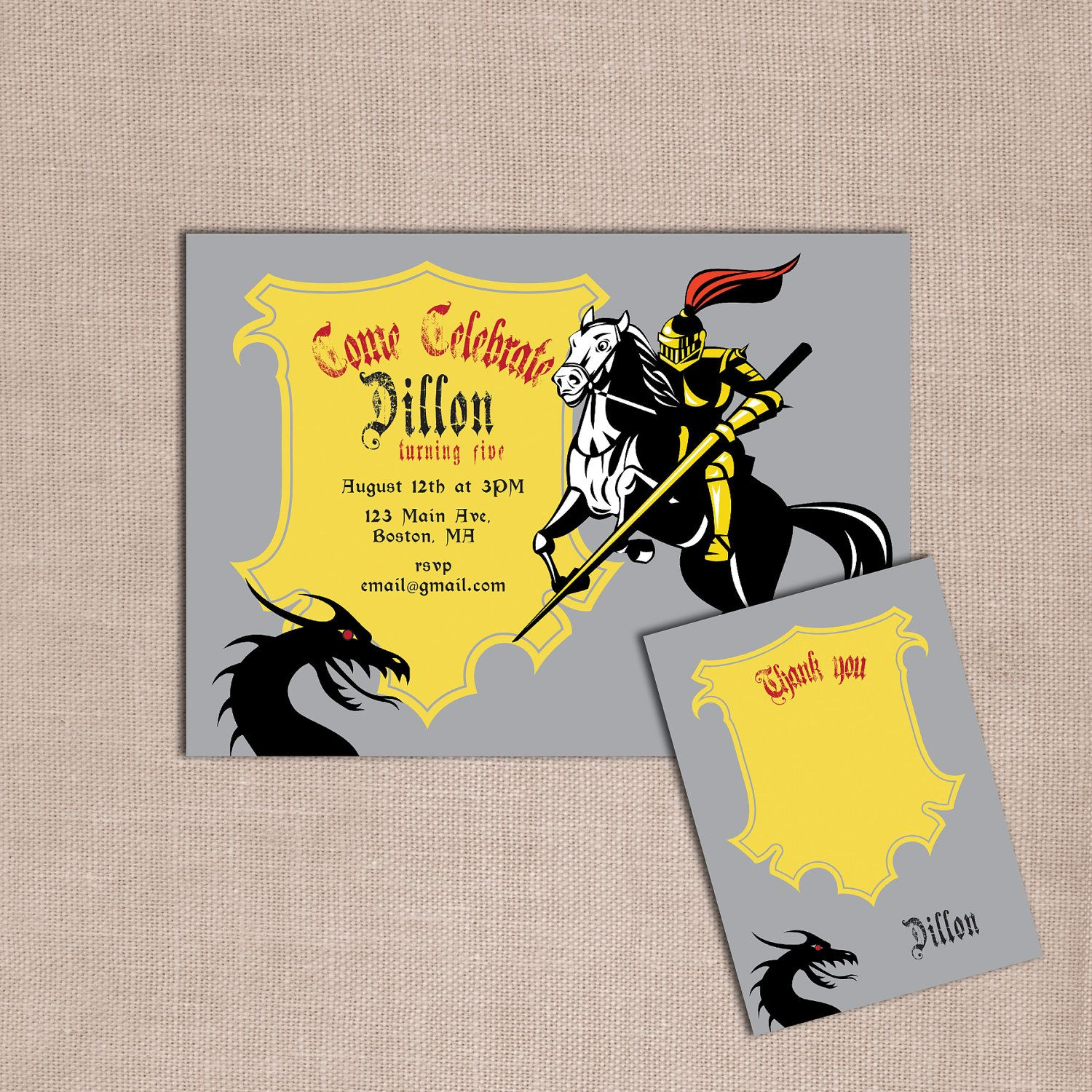 Knights and Dragons birthday party invitations and matching thank ...