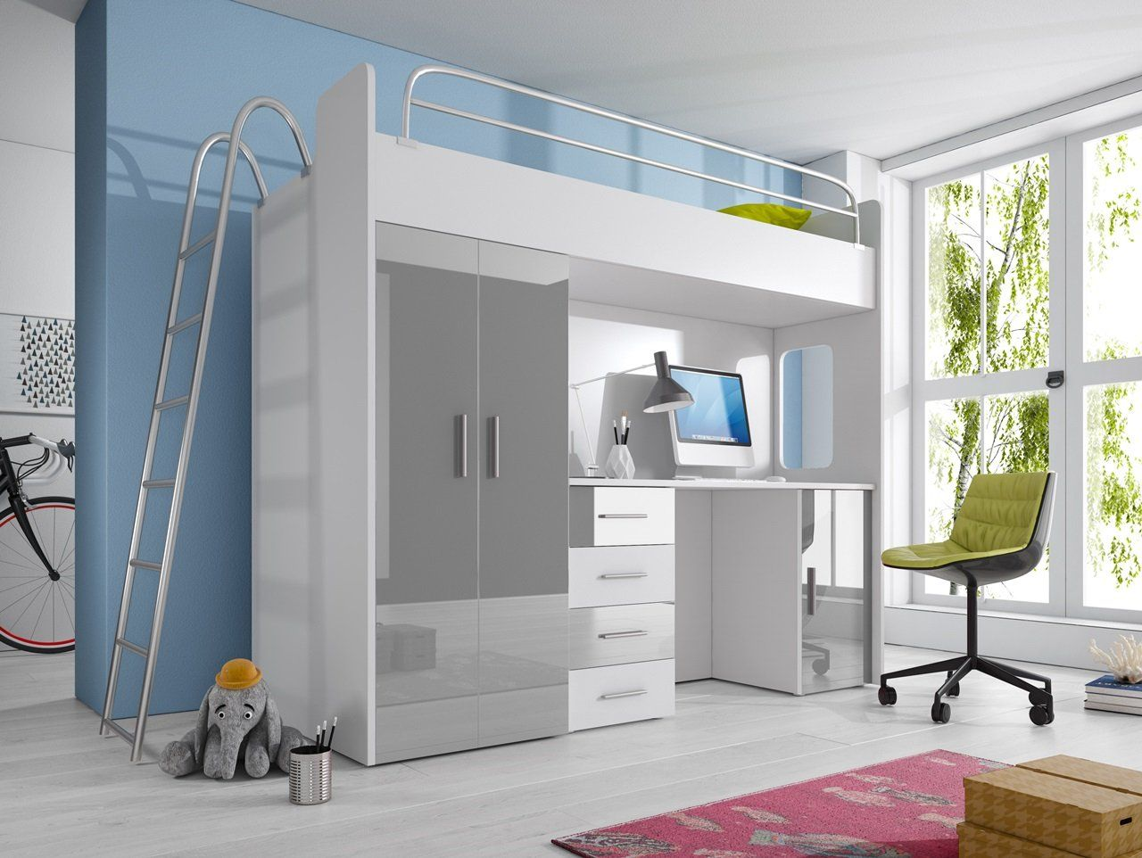 Ausziehbett Antonio High Gloss Modern Cabin Bunk Bed Paradise 4d With Desk Available In