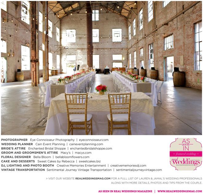 Lauren & Jamal have been blogged! Read their love story, see their photos and meet their entire wedding vendor dream team on www.realweddingsmag.com! {Photos by Eye Connoisseur Photography, wedding planned by Cain Event Planning​, bride's attire from Enchanted Bridal Shoppe​, groom's attire from Macy's​, flowers by Bella Bloom, desserts from Sweet Cakes by Rebecca​, transportation by Sentimental Journey Vintage Transportation, DJ, lighting and photo booth by Creative Memories Entertainment.