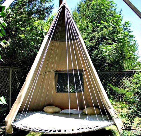 Outdoor trampoline teepee hammock for the home for Trampoline porch swing