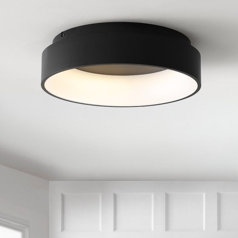 Calfee 17 75 Simple Drum Led Flush Mount Light Fixtures Flush Mount Bedroom Ceiling Light Black Ceiling Lighting