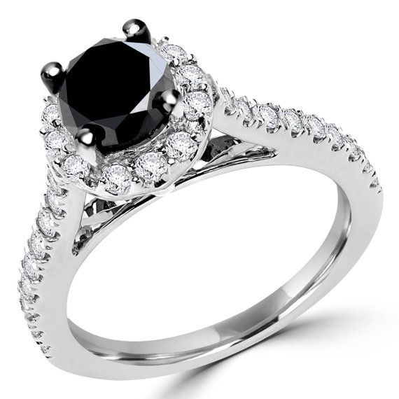 1 5/8 CTW Black and White Round Diamond Halo Engagement Ring in 10K White Gold on Etsy, $819.00