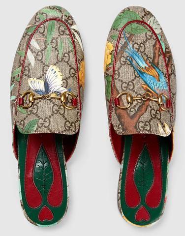 a0222c1b0e0  SALE  Princetown GG Tian Print Slipper Gucci Shoes
