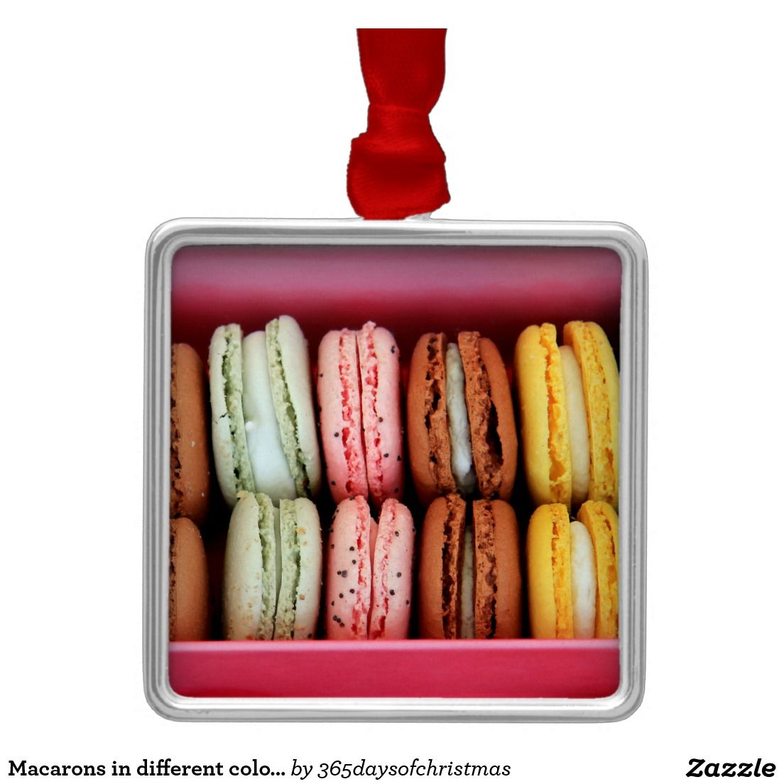 Macarons in different colors square metal christmas ornament
